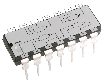 A 14 pin semiconductor chip with a logic gate diagram overlay to show the internal connections
