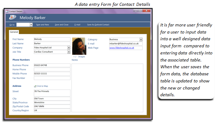 A typical database form