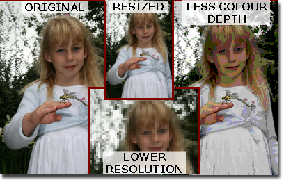 The effect of resizing and reducing colour depth and resolution on a bitmap image