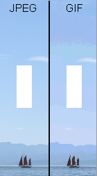 The same image saved as a JPEG and GIF, showing the GIF file allows transparency but the 256 colour limit causes banding with gradually changing colours such as the blue in the sky