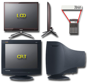 A comparison of CRT and LCD monitor dimensions, as well as a typical LCD calculator display
